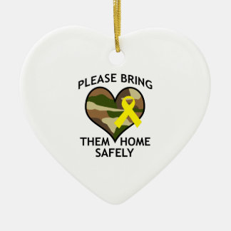BRING THEM HOME SAFELY Double-Sided HEART CERAMIC CHRISTMAS ORNAMENT