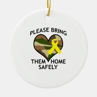 BRING THEM HOME SAFELY Double-Sided CERAMIC ROUND CHRISTMAS ORNAMENT