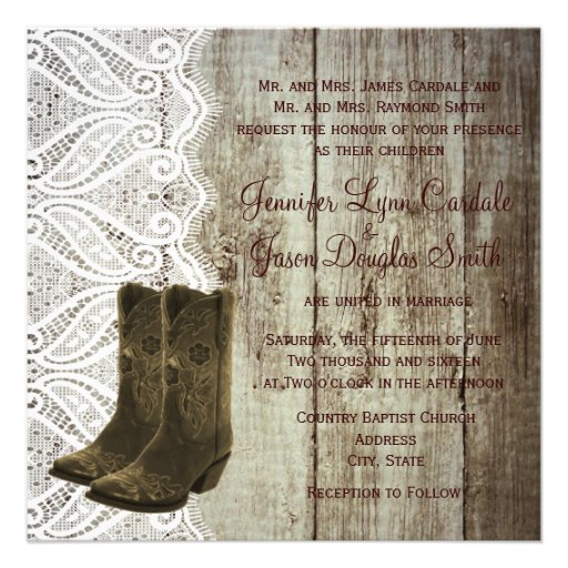 """Bring Your Boots Cowboy Wedding Invitations 5.25"""" Square"""