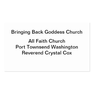Bringing Back Goddess Church Business Card