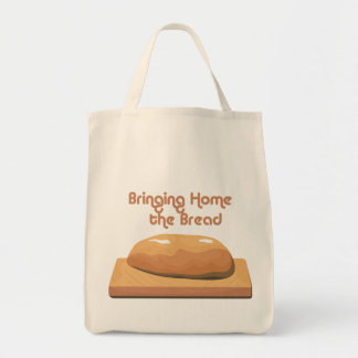 Bringing Home Baked Bread Grocery Tote bag.