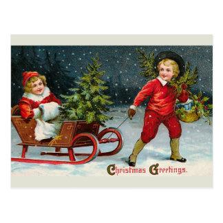 """Bringing Home Christmas Holly"" Postcard"