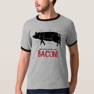 Bringing Home the BACON!  Funny Pig Butcher Chart Tee Shirt