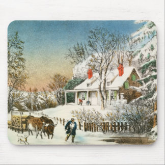 Bringing Home the Logs, Winter Landscape Mouse Pad