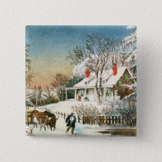 Bringing Home the Logs, Winter Landscape Pinback Button