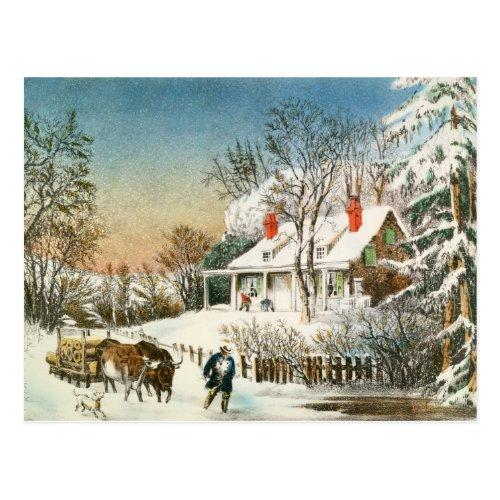 Bringing Home the Logs Winter Landscape Postcard