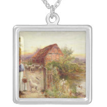 Bringing Home the Sheep Silver Plated Necklace