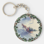 BRINGING HOME the TREE by SHARON SHARPE Basic Round Button Keychain