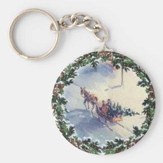BRINGING HOME the TREE by SHARON SHARPE Basic Round Button Keychain
