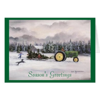 Bringing home the tree, Season's Greetings Greeting Card