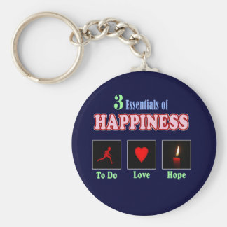 Brings happiness basic round button keychain