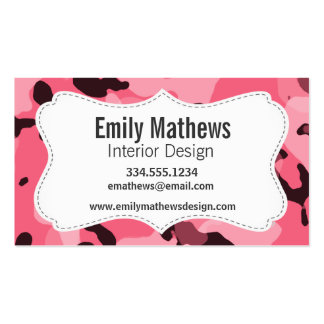 Brink Pink Camo; Camouflage Business Card