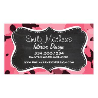 Brink Pink Camo; Camouflage; Retro Chalkboard Business Card