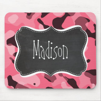 Brink Pink Camo; Camouflage; Retro Chalkboard Mouse Pad