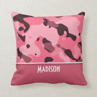 Brink Pink Camo; Personalized Throw Pillow