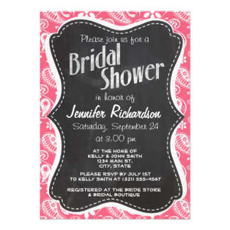 Brink Pink Paisley Daisy Personalized Invitations