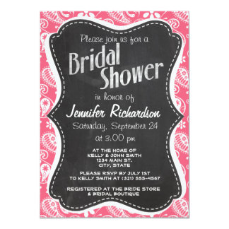 Brink Pink Paisley; Daisy Personalized Invitations