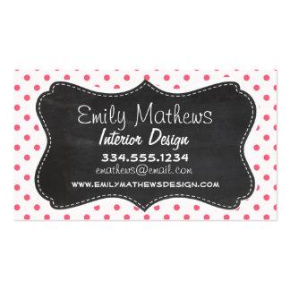 Brink Pink Polka Dots; Vintage Chalkboard look Double-Sided Standard Business Cards (Pack Of 100)