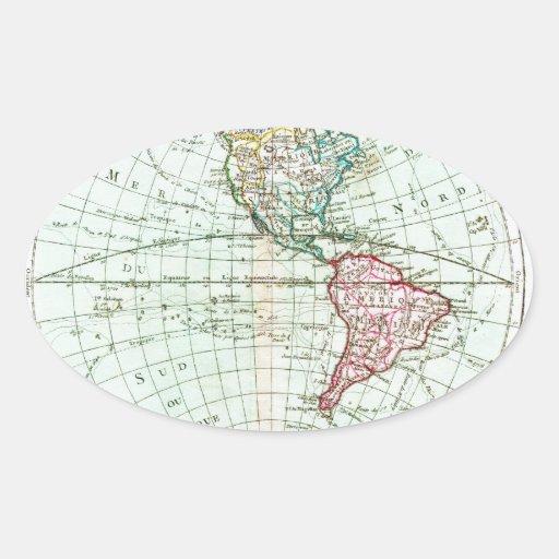 Brión 1764 de la Tour Map del Hemispher occidental Pegatina Ovalada