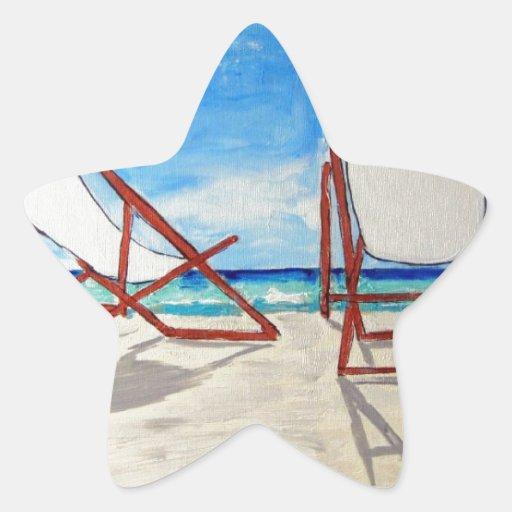 Brisa de la playa pegatina en forma de estrella