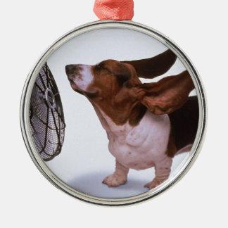 Brisa - perro y fan adornos de navidad