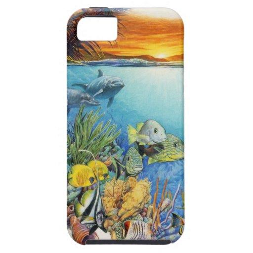 Brisa tropical un collage tropical de los pescados iPhone 5 fundas