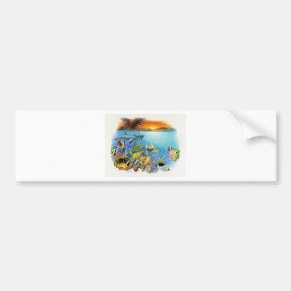 Brisa tropical un collage tropical de los pescados pegatina para auto