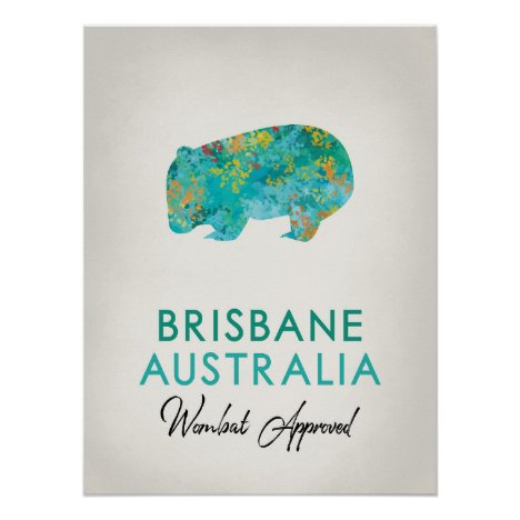 Brisbane Australia Wombat Poster