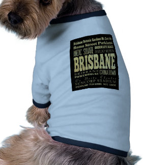 Brisbane City of Australia Typography Art Doggie T-shirt