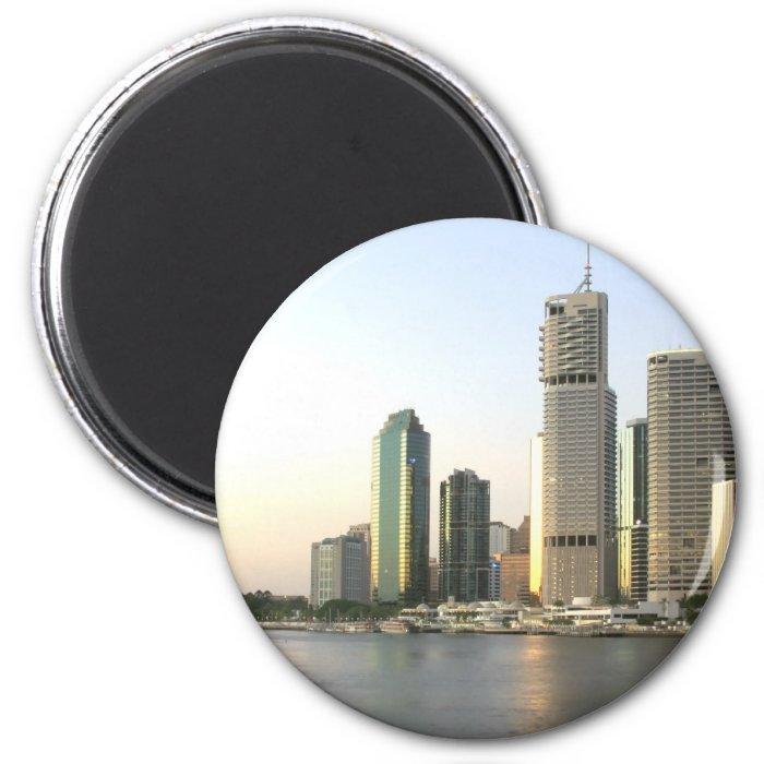 Brisbane city skyline 2 inch round magnet