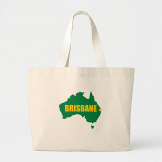 Brisbane Green and Gold Map Large Tote Bag