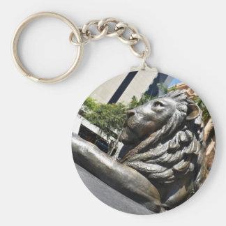BRISBANE LION STATUE QUEENSLAND AUSTRALIA BASIC ROUND BUTTON KEYCHAIN