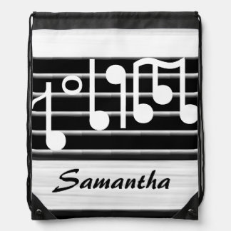 Bristles Musical Notes Personalized Drawstring Backpack