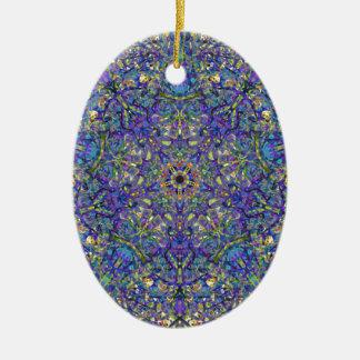 Bristol Blue Glass Pattern Ceramic Ornament