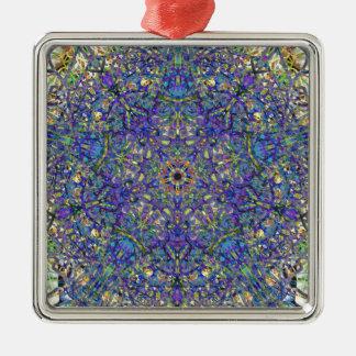 Bristol Blue Glass Pattern Metal Ornament