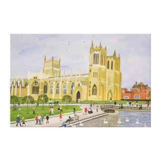 Bristol Cathedral and College Green 1989 Canvas Print