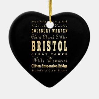 Bristol City of United Kingdom Typography Art Double-Sided Heart Ceramic Christmas Ornament