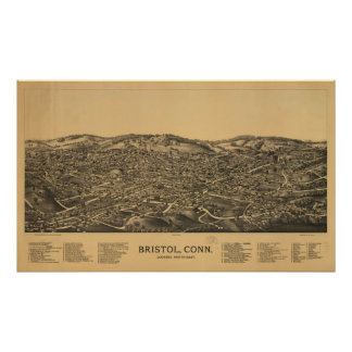 Bristol Connecticut 1889 Antique Panoramic Map Poster