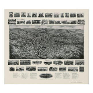 Bristol, CT Panoramic Map - 1907 Poster