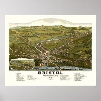 Bristol, mapa panorámico del NH - 1884 Póster