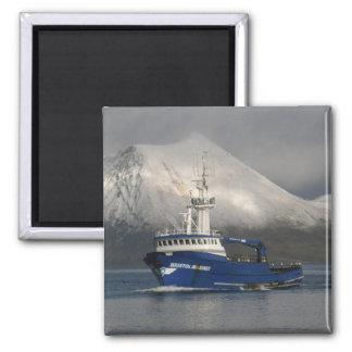 Bristol Mariner, Crab Boat in Dutch Harbor, Alaska 2 Inch Square Magnet