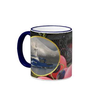 Bristol Mariner, Crab Boat in Dutch Harbor, Alaska Ringer Mug