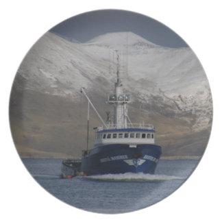 Bristol Mariner, Crab Fishing Boat in Dutch Harbor Melamine Plate