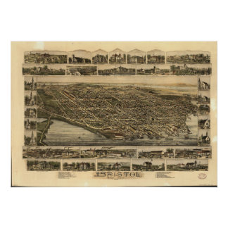 Bristol Rhode Island 1891 Antique Panoramic Map Poster