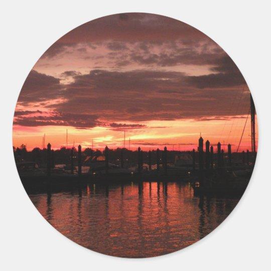Bristol Rhode Island sunset Classic Round Sticker