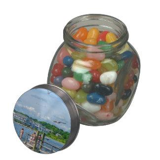 Bristol RI - Little Girls Watching Seagulls Jelly Belly Candy Jars