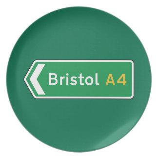 Bristol señal de tráfico BRITÁNICA Platos De Comidas