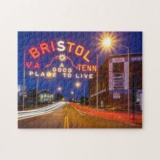 Bristol Sign in Maroon and Orange Jigsaw Puzzle