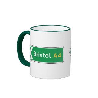 Bristol UK Road Sign Coffee Mugs