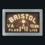 """Bristol, Va, Tenn Night sign belt buckle<br><div class=""""desc"""">Created with my hometown in mind I have added several Bristol VA TN belt buckles using photos I have taken.  Our city is unique in that it is divided and half is in Va and half in Tn.  This is our Bristol City Slogan sign at night.</div>"""